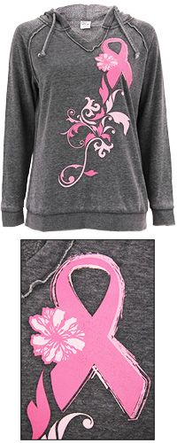 Pink Ribbon Burnout Pullover Hoodie at The Breast Cancer Site