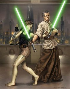 Lightsaber training at the Jedi Temple.