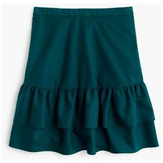J.Crew Petitewool Flannel Ruffle Skirt ($130) ❤ liked on Polyvore featuring skirts, blue skirt, flounce skirt, long ruffle skirt, ruffle skirt and tiered skirts