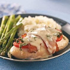 Caprese Chicken with Bacon Recipe from Taste of Home -- shared by Tammy Hayden of Quincy, Michigan