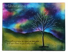 Understand Blue: Meet Me At The Vanishing Point, using Northern Lights technique from Splitcoast Stampers.