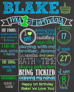 First Birthday Chalkboard Poster Printable Sign for Birthday Parties // Customized Custom Printable File Boy or Girl // Blue and Green by PersonalizedChalk on Etsy https://www.etsy.com/listing/191231267/first-birthday-chalkboard-poster