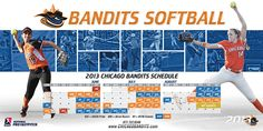 2013 schedule poster to promote Chicago Bandits Pro Fastpitch team. Softball, Schedule, Athlete, Chicago, Sport Design, Poster Designs, Baseball Cards, Photography Ideas, Sports