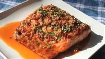 Try this one! This recipe is by far the best complement for salmon. Not only is this recipe delicious, it has the added bonus of being an very healthy dish. Great for dinner parties, paired with rice pilaf, green beans, and salad.
