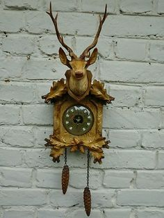 Vintage Kitsch 1960s Erref Platic Stags Head Barometer Cuckoo Clock