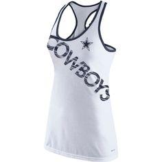Nike Dallas Cowboys Women's White Warp Tri-Blend Performance Tank Top