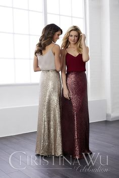 97bccc31b24 Christina Wu Celebrations 22810 Two-piece chiffon top and sequin bottom  gown. The top has a shallow v-neck with spaghetti straps and the skirt has  a zipper.