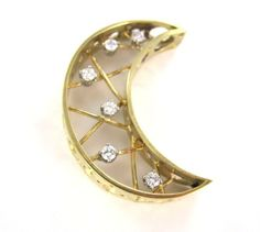 14KT YELLOW GOLD PENDANT CHARM 6 DIAMOND MOON CRESCENT WICCAN 6.9DWT SOLSTICE