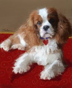 April Cavalier King Charles Spaniel Portrait by Craig Nelson Cavalier King Spaniel, Cavalier King Charles Dog, Spaniel Dog, King Charles Spaniel, Spaniels, Dog Breeds List, Dog Items, Dog Paintings, Dog Portraits