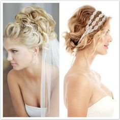 classic curly wedding short hair - love the hair on the right