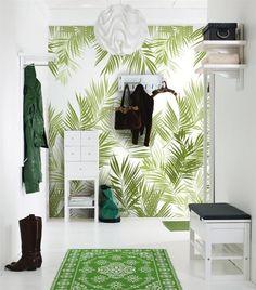 Wall paper accent wall livingroom ideas interior design Ideas for 2019 Tropical Home Decor, Tropical Houses, Tropical Interior, Tropical Colors, Tropical Furniture, Tropical Leaves, Halls Pequenos, Decor Room, Wall Decor