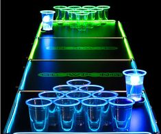 Turn a routine night of binge drinking into an epic alcohol chugging affair by playing with the glow in the dark beer pong set. The cups, balls, and table all feature a blindingly bright neon border that makes them glow for a clever way to play at night.