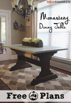 Monastery Dining Table | free plans | rogueengineer.com #DIYdiningtable #diningroomDIYplans