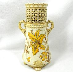 GORGEOUS vintage heavy yellow carved vase with by 3SisterzJewelry