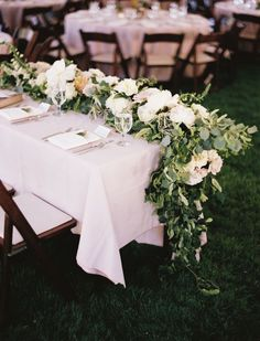 Beautiful floral and greenery table garland. #wedding #flowers