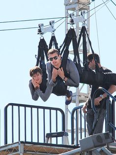 Behind The Scenes| Serafini Amelia| Star Tracks: Tuesday, February 4, 2014 | HANG LOW | Don't look down! Shailene Woodley and costar Theo James are strapped in tight on a zipline while filming Divergent in Hollywood on Monday.