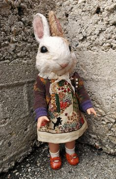 by Annie Montgomerie Fabric Animals, Sock Animals, Kitsch, Textile Sculpture, Rabbit Art, Quirky Gifts, Creepy Dolls, Animal Heads, Needle Felted Animals