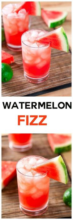 Sparkling Watermelon Cocktail: This bubbly and refreshing, watermelon cocktail is ready in just 5 minutes! Can you guess the 4 ingredients?