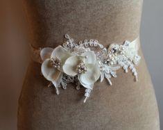 Cinturón de novia Champagne cinturón nupcial boda vestido de
