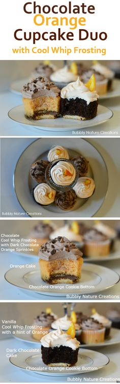 Chocolate Orange Cupcake Duo with Cool Whip Frosting! Perfect for Halloween or anytime. #CoolWhipFrosting #CBias