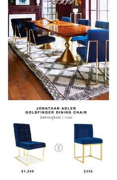 Jonathan Adler Goldfinger Dining Chair for $1,250 vs Overstock Haute Navy Velvet Chair for $296 @copycatchic look for less budget home decor design http://www.copycatchic.com/2016/11/jonathan-adler-goldfinger-dining-chair.html?utm_campaign=coschedule&utm_source=pinterest&utm_medium=Copy%20Cat%20Chic&utm_content=Jonathan%20Adler%20Goldfinger%20Dining%20Chair