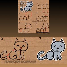 How to draw a cat using the word CAT