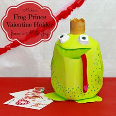 morena's corner: Make a Frog Prince Valentine Holder from a Milk Container