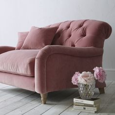 Buy Crumble Large 3 Seater Sofa by Loaf at John Lewis in Dusty Rose Clever Velvet, Light Leg from our Sofas & Sofa Beds range at John Lewis & Partners. Free Delivery on orders over Rosa Sofa, Pink Sofa, Pink Chairs, Pink Velvet Chair, Velvet Chairs, White Chairs, Best Leather Sofa, 2 Seater Sofa, Living Room
