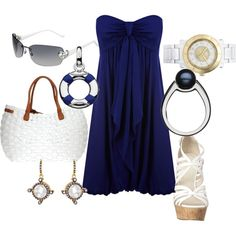 My Version: Cross-back Royal Blue Mini Dress, White Wedges.