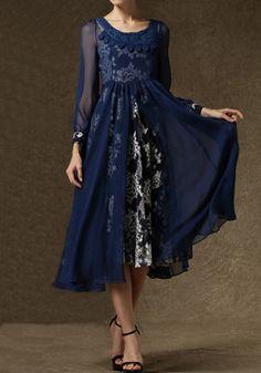 Dark Blue Floral 2-in-1 Chiffon Maxi Dress  *Inspiration for dance costume*