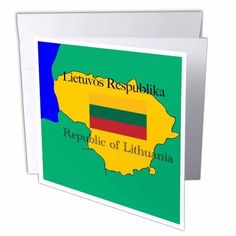 3dRose The map and flag of Lithuania with the Republic of Lithuania printed in English and Lithuanian, Greeting Cards, 6 x 6 inches, set of 12