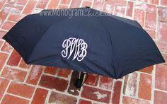 Black Monogrammed Umbrella