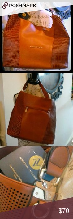 NWT Adrienne Vittadini Hobo Brown/Cognac! Stunning new designer large hobo bag with gold tone accents & shoulder strap however handle easily fits over the shoulder.  Love this bag also comes in black.  Only one of each.  All faux leather but who would know.  Beautiful, Great buy, bundle and save! Adrienne Vittadini Bags Hobos