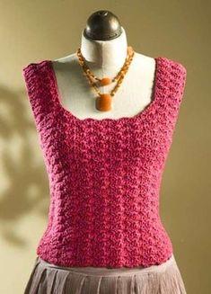 Maglie estive all'uncinetto - Maglia rosa senza maniche