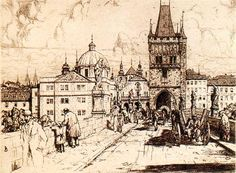 Tavik František Šimon (Czech 1877-1942) Charles Bridge and Křižovnické náměstí. Prague. 1914,