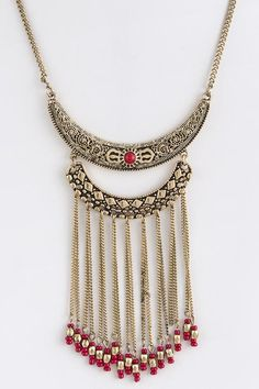 TRIBAL CRESCENT FRINGE ACCENT NECKLACE SET