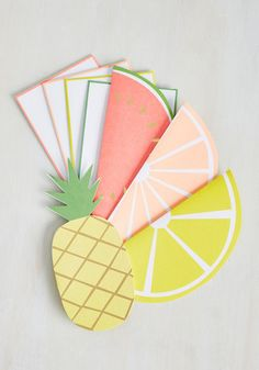 The Moment of Fruit Notecard Set  Okay, so your first task is to choose between the lemon, orange, watermelon, and pineapple greeting cards in this set. Once youve made your selection and jotted a note to your crush, your next decision is which neon-trimmed envelope to pair it with. Got it? Alright, girl, now stamp that mail, take a deep breath, and send it on its way! The post  The Moment of Fruit Notecard Set  appeared first on  Vintage & Curvy .  http://www.vintageandcurvy.com/p..