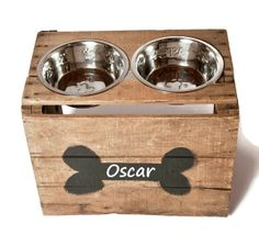 Elevated Dog Bowl / Pet Feeder / Dog Bowl Stand / Dog Rescue / Personalized Bowl Holder / Gift for Dog Lover on Etsy, $49.00