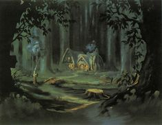 """""""Snow White and the Seven Dwarfs"""" art of the dwarfs' cottage in the forest"""