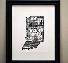 Cities of INDIANA Collage Print (OR Customize and Choose Your Own State). $12.50, via Etsy.