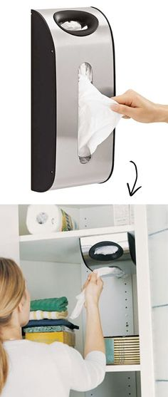 Grocery Bag Dispenser for small spaces -- A ton of easy and cheap organization and storage ideas for the home (car too!). A lot of these are really clever storage solutions for small spaces, bedrooms, bathrooms, closets, kitchens and apartments. | Listotic.com