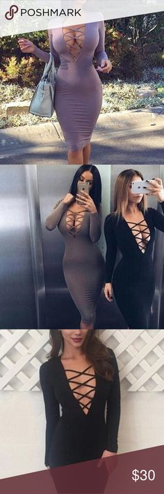 Black Bandage dress Sexy skin tight dress. Low cut criss cross front. No zippers. Stretchy but snug. Thick material Nasty Gal Dresses Midi