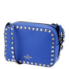 Valentino Garavani, rockstud shoulder bag, indigo blue. from shop.wunderl.com