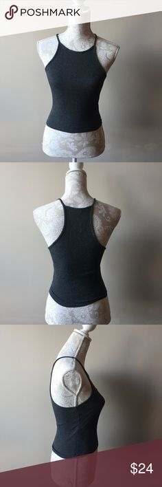 Brandy Melville ribbed tank top Brand new with tags from pacsun. Gray soft ribbed material. High neck style. One size fits most. Please note the Brandy Melville label tag is cut out in order to prevent store returns. Brandy Melville Tops Tank Tops