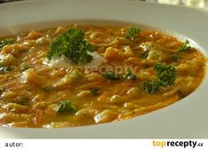 Lehce pikantní drožďová polévka s kapáním recept - TopRecepty.cz Thai Red Curry, Chili, Food And Drink, Vegan, Ethnic Recipes, Fit, Soups, Hygge, Decor