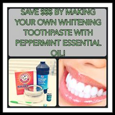 Make your own whitening toothpaste! Mix cup of baking soda, cup of… Therapeutic Essential Oils, Yl Essential Oils, Young Living Essential Oils, Bake Sale Packaging, Green Tea Diet, Green Teas, Baking Soda Teeth, Skin Food, Mouthwash