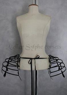 Two pieces worn together double pannier black ribbon and lacing Crinoline long cage hoop bustle. Only the fantasy crinoline black bustle Gold Dress, Fancy Dress, Cage Skirt, Hoop Skirt, Black Ribbon, Bustle, Marie Antoinette, Fashion Show, Vintage Fashion
