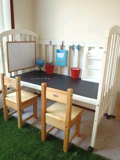 I like the idea of converting old crib into a study table. My kid and his crib will be reunited again!