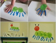 a green caterpillar - handprint coloring - crafts with kids - .a green caterpillar - handprint coloring - crafts with kids - . - Sanat etkinlikleri Fun Butterfly Crafts For Kids Crafts, Diy Crafts To Do, Toddler Crafts, Preschool Crafts, Arts And Crafts, Pictures To Paint, Print Pictures, Painting Pictures, Room Pictures