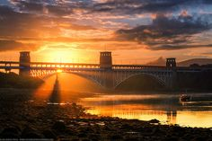 Sunrise at Britannia Bridge, Menai Strait, Anglesey, Wales